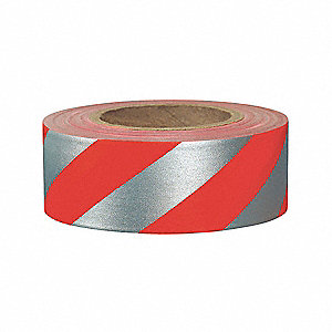 Flagging Tape,Red/Silvr,300ft x 1-3/16In