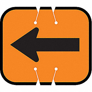 Traffic Cone Sign,Orange w/Black,Arrow