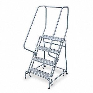 "4-Step Stock Picking Rolling Ladder, Perforated Step Tread, 70"" Overall Height, 450 lb. Load Capacit"