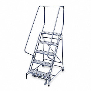 "5-Step Stock Picking Rolling Ladder, Perforated Step Tread, 80"" Overall Height, 450 lb. Load Capacit"