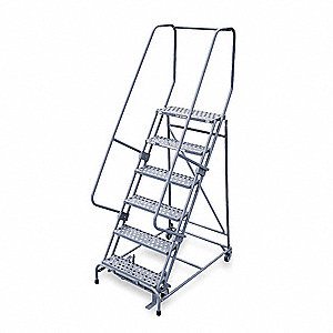"6-Step Stock Picking Rolling Ladder, Perforated Step Tread, 90"" Overall Height, 450 lb. Load Capacit"