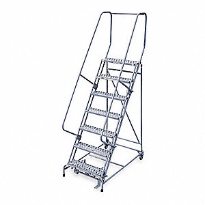 "7-Step Stock Picking Rolling Ladder, Perforated Step Tread, 100"" Overall Height, 450 lb. Load Capaci"