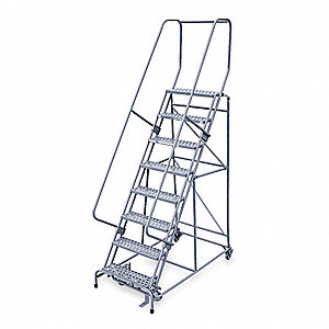 "8-Step Stock Picking Rolling Ladder, Perforated Step Tread, 110"" Overall Height, 450 lb. Load Capaci"