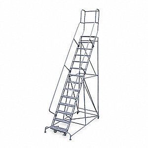 "14-Step Rolling Ladder, Expanded Metal Step Tread, 182"" Overall Height, 450 lb. Load Capacity"