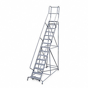 "15-Step Rolling Ladder, Antislip Vinyl Step Tread, 192"" Overall Height, 450 lb. Load Capacity"