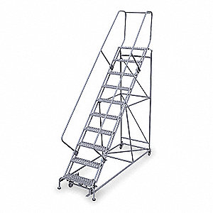 "10-Step Rolling Ladder, Rubber Mat Step Tread, 130"" Overall Height, 800 lb. Load Capacity"