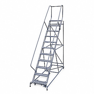 "11-Step Rolling Ladder, Serrated Step Tread, 140"" Overall Height, 800 lb. Load Capacity"