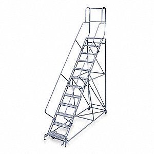 "12-Step Rolling Ladder, Serrated Step Tread, 162"" Overall Height, 800 lb. Load Capacity"
