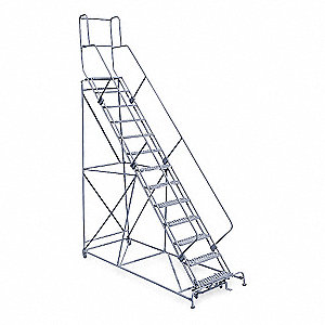 "13-Step Rolling Ladder, Perforated Step Tread, 172"" Overall Height, 800 lb. Load Capacity"