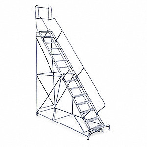 "15-Step Rolling Ladder, Expanded Metal Step Tread, 192"" Overall Height, 800 lb. Load Capacity"