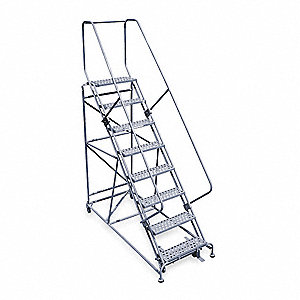 "8-Step Rolling Ladder, Expanded Metal Step Tread, 110"" Overall Height, 800 lb. Load Capacity"