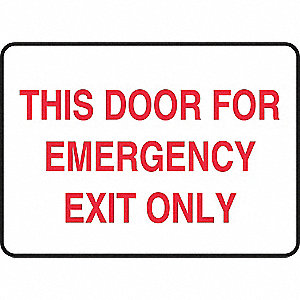 Emergency Exit Sign,10 x 14In,R/WHT,AL