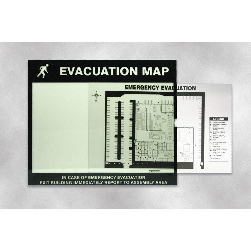 Evacuation Map Holder, Polycarbonate, For Use With Evacuation Maps, on map beverly hills, map monticello, map new port richey, map storage, map of central louisiana, map rack, map case,