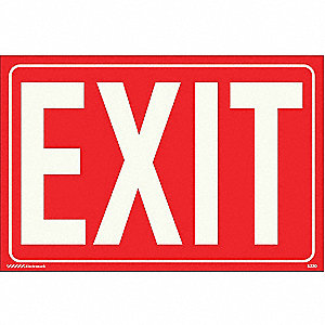 Exit Sign,8 x 12In,WT/Red,Exit,ENG,Text