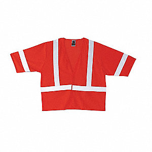 Orange/Red with Silver Stripe Traffic Vest, ANSI 3, Hook-and-Loop Closure, 4XL/5XL