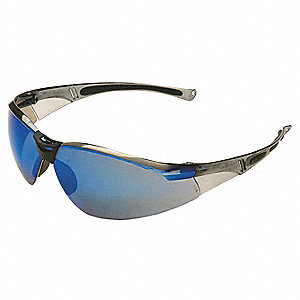 A800 Scratch-Resistant Safety Glasses, Blue Mirror Lens Color