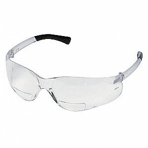 Clear Scratch-Resistant Bifocal Safety Reading Glasses, +1.0 Diopter