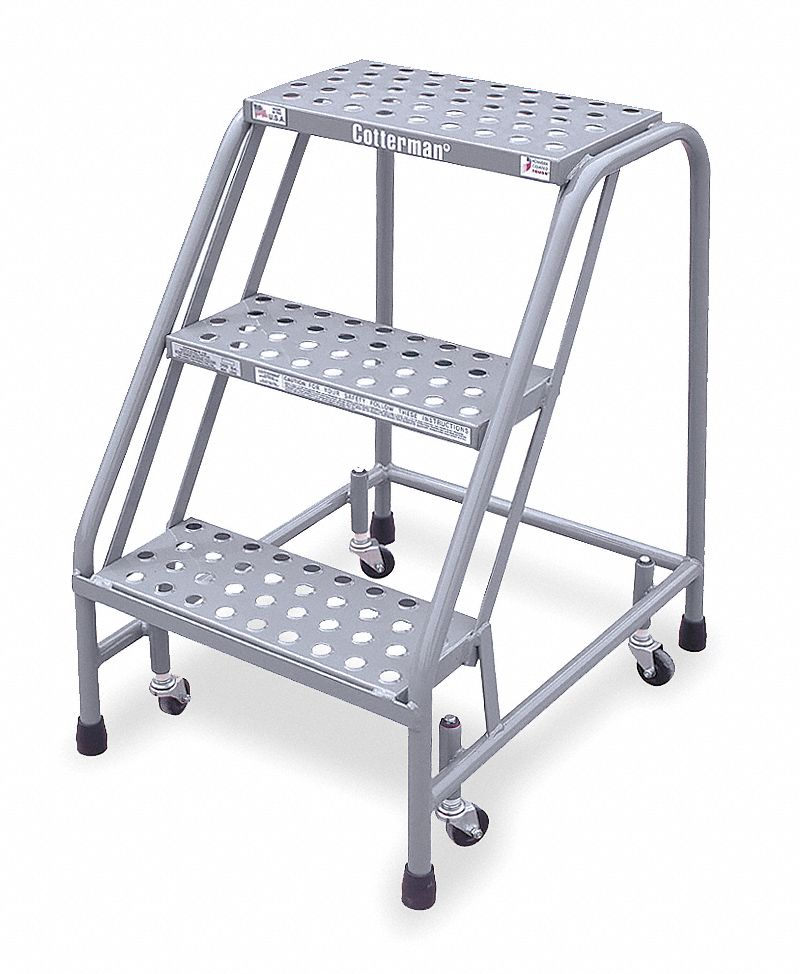 Steel Rolling Step, 30 in Overall Height, 450 lb Load Capacity, Number of Steps: 3