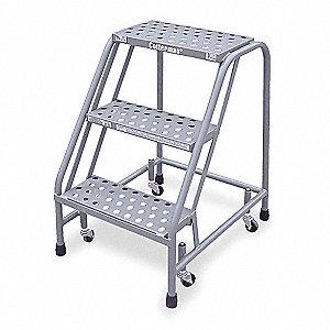 "Steel Rolling Step, 30"" Overall Height, 450 lb. Load Capacity, Number of Steps: 3"