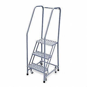 "3-Step Rolling Ladder, Perforated Step Tread, 60"" Overall Height, 450 lb. Load Capacity"