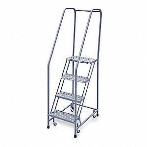 "4-Step Rolling Ladder, Perforated Step Tread, 70"" Overall Height, 450 lb. Load Capacity"