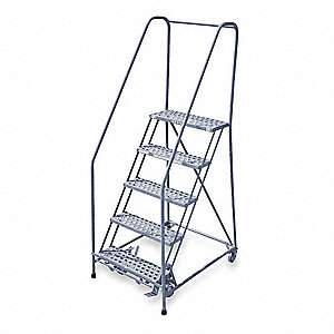 "5-Step Rolling Ladder, Perforated Step Tread, 80"" Overall Height, 450 lb. Load Capacity"
