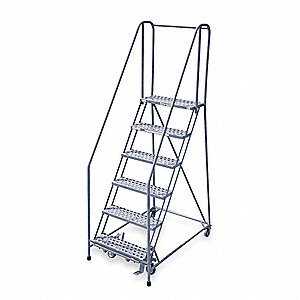 "6-Step Rolling Ladder, Perforated Step Tread, 90"" Overall Height, 450 lb. Load Capacity"