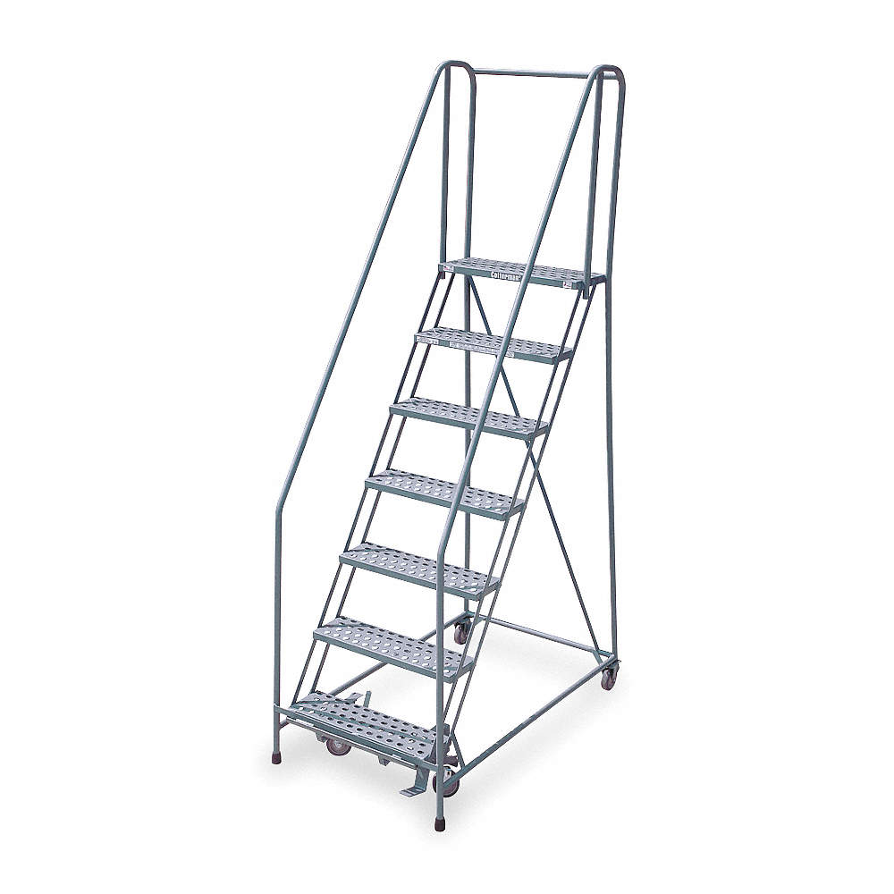 Superb 7 Step Rolling Ladder Antislip Vinyl Step Tread 100 Overall Height 450 Lb Load Capacity Spiritservingveterans Wood Chair Design Ideas Spiritservingveteransorg
