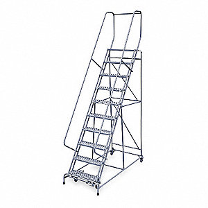 "10-Step Rolling Ladder, Perforated Step Tread, 130"" Overall Height, 450 lb. Load Capacity"
