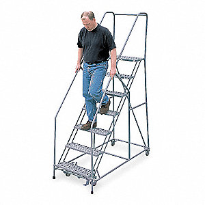 "7-Step Rolling Ladder, Perforated Step Tread, 100"" Overall Height, 450 lb. Load Capacity"