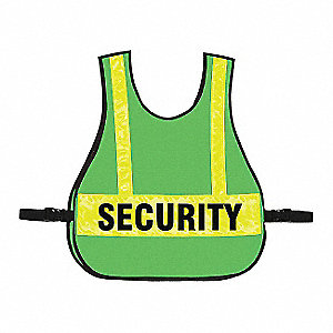 Security Buckle Safety Vest, Unrated, High Visibility Green, Universal