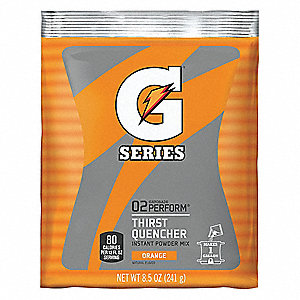 Orange Powder Sports Drink Mix, Package Size: 8.5 oz., Yield: 1 gal., 1 EA
