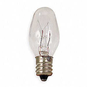 4.0 Watts Incandescent Lamp, C7, Candelabra Screw (E12), 2800K Bulb Color Temp., 2 PK