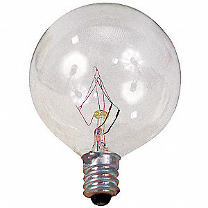 60 Watts Incandescent Lamp, G16-1/2, Candelabra Screw (E12), 600 Lumens