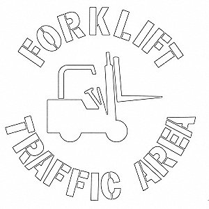 "Stencil, Fork Lift Traffic Area, 24"", Polyethylene, 1 EA"