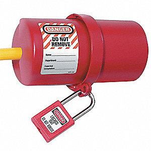 "Plug Lockout, Red, Xenoy, 6""H x 3""W, 3/4""dia."