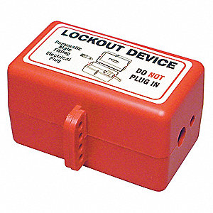"Plug Lockout, Polystyrene, 110/220/550 Voltage, 12/32"" Max. Cord Dia."