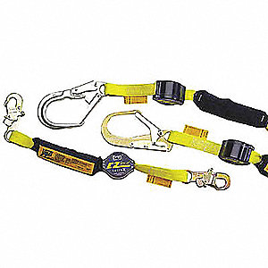 Shock-Absorbing Lanyard,6 ft.,Gray,310lb