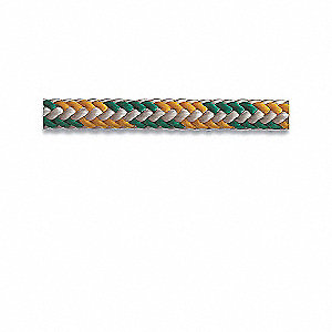 "Polyester Climbing Rope, 1/2"" Rope Dia., 150 ft. Length, Green/Yellow"