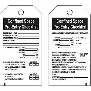 "Confined Space Tag, Polyester, Height: 5-3/4"", Width: 3"", White"