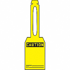 "Caution Tag, Plastic, Height: 5-1/4"", Width: 3-1/4"", Yellow"