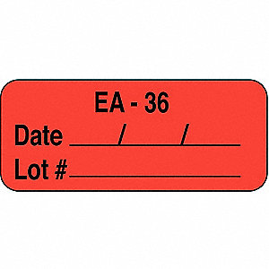 Label, 5/8 In. H, 1-11/16 In. W, PK1000