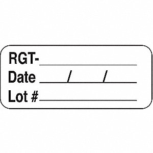 Label,5/8 In. H,1-11/16 In. W,PK1000
