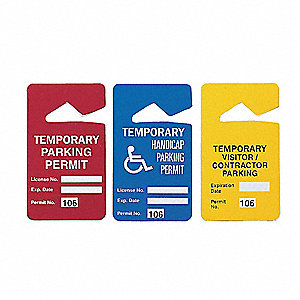 "Polyester Visitor/Contractor Parking Tag, Width 2-3/4"", Height 4-7/8"", 100 PK"