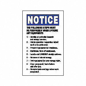 Lockout Label,5 In. H,3-1/2 In. W,PK5