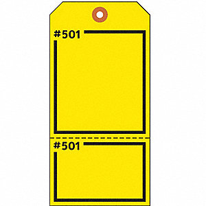 "Blank Tag, Yellow, Height: 5-3/4"" x Width: 2-7/8"", 100 PK"