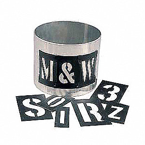 "Stencil Kit, Letters and Numbers, 3"", Plastic, 1 EA"