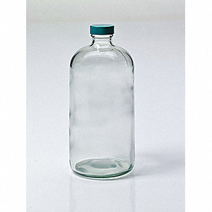 Narrow Mouth Boston Round Safety Coated Bottle, Sampling, Glass, 960mL, Clear, 12 PK