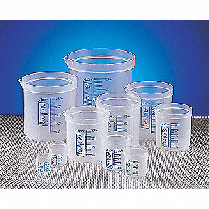 Plastic Square Ratio Beaker, Low Form, 50 to 250mL, 10 PK