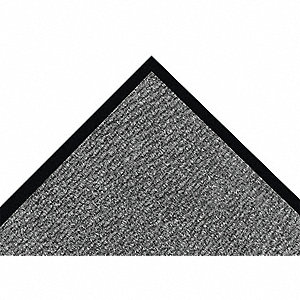 "Indoor Entrance Mat, 6 ft. L, 4 ft. W, 1/4"" Thick, Rectangle, Gray"